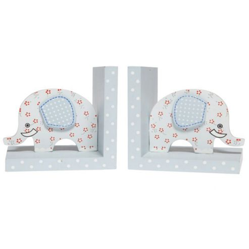 Ellie - Elephant Childrens Shelf Sitter Bookends - Set Of Two - Blue