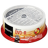 Sony 25DMR47SB DVD-R 16x recordable storage 25-pack