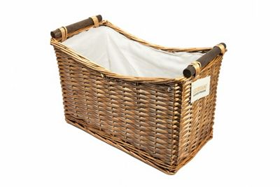 Woodluv Set Of 2 Wicker Newspaper Storage Rack With White Lining