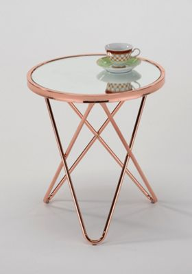 Porto Round Side End Table,Copper/Mirror