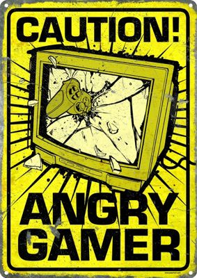 Caution Angry Gamer Tin Sign