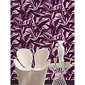 Muriva Gathered Silk Effect Wallpaper - Purple - F72906