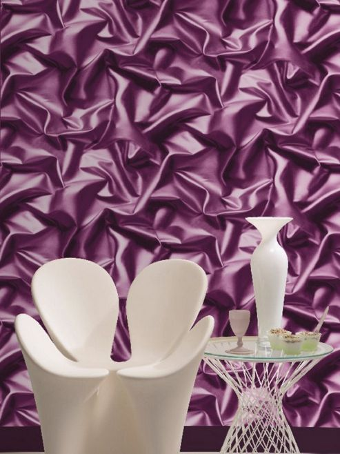 Muriva Gathered Silk Effect Wallpaper - Purple - F72906