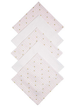 F&F 5 Pack of Bee Print Muslin Squares