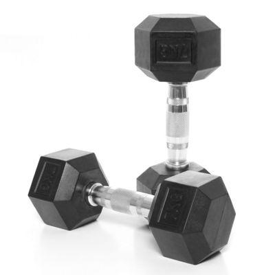 Body Power Rubber Hex Ergo Dumbbells - 7Kg (x2)