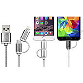 FX R138979 2 in 1 Braided Charge & Sync USB Cable - 2m - Silver