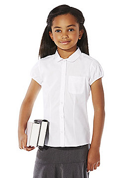 F&F School Girls Embroidered Pocket School Shirt - White