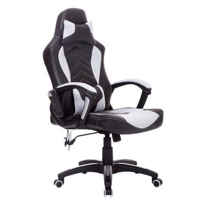 Homcom PU Leather Massage Office Chair Reclining White