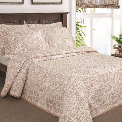 Moda De Casa Lace Patchwork Soft Touch Bedspread King Oatmeal
