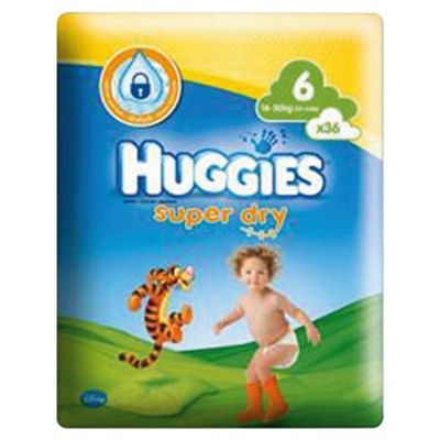 Huggies Super Dry Size 6 Economy Pack 36 Nappies