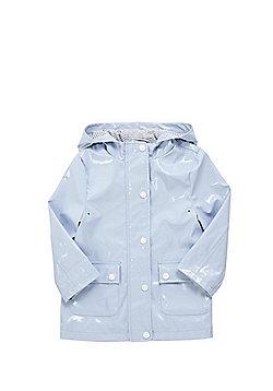 F&F Shower Resistant Patent Rain Mac - Baby blue