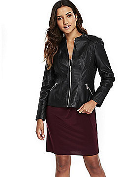 Wallis Petite Faux Leather Jacket - Black