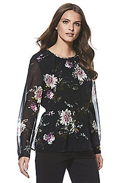 Only Floral Peplum Blouse - Black
