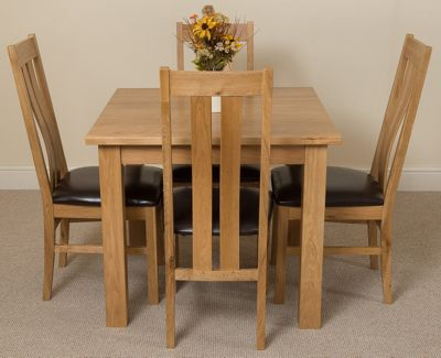 Oslo 90cm Square Kitchen Solid Oak Dining Table and 4 Solid Oak Leather Chairs