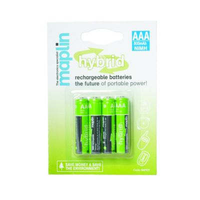 Maplin Hybrid AAA Rechargeable Batteries 800Mah 4 Pack