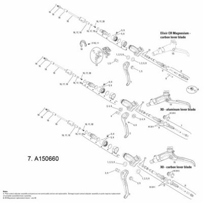Avid Lever Pushrod/Cross Dowel/Return Spring X0 (Aluminium Lever)