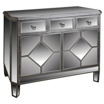 Diamond 3 Drawer 2 Door Mirrored Chest