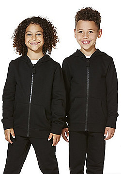 F&F School Unisex Zip-Through Hoodie with As New Technology - Black