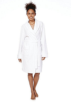 F&F Towelling Dressing Gown - White