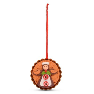 Hanging Gingerbread Muffin Christmas Tree Decoration with Angel Design