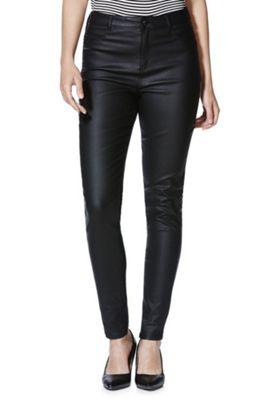 F&F Coated Mid Rise Skinny Trousers 10 Regular leg Black