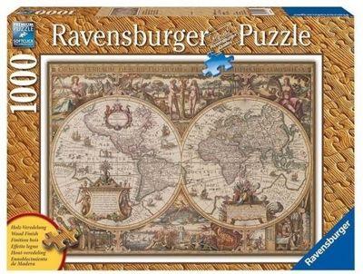 Antique World Map - Wood Effect Finish - 1000pc Puzzle