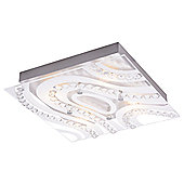 Modern LED Bathroom Light with Clear/Frosted Glass Plate and Rows of Crystals