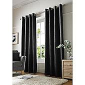 Alan Symonds Chenille Eyelet Curtains - Black