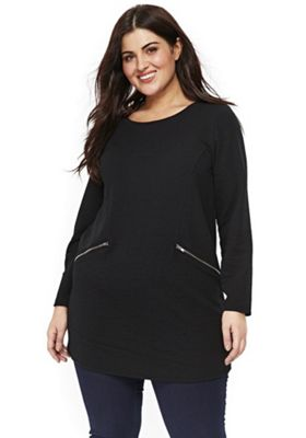 Evans Zip Trim Plus Size Tunic Black 22-24
