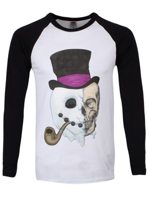 Unorthodox Snowman Black & White Men's Long-sleeve Baseball T-Shirt