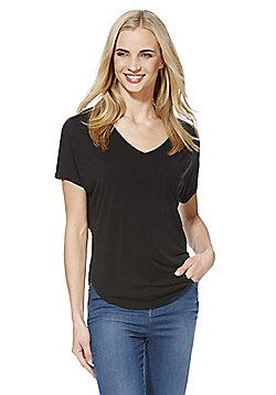 F&F Supersoft Modal Rich V-Neck T-Shirt - Black