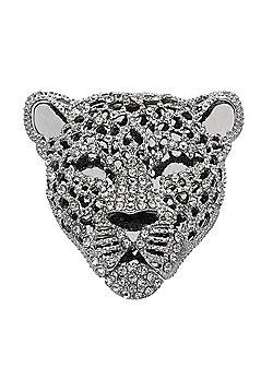 Rhodium Plated, Crystal Leopard head Brooch