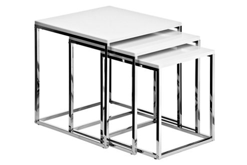Premier Housewares 3 Piece Nest of Tables with Chrome Frame - White High Gloss