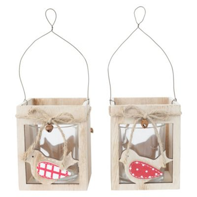 Set of 2 Wooden Bird Hanging Tealight Candle Holders