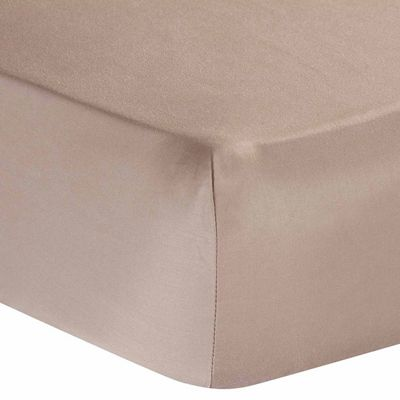 Homescapes Moonlight Beige Egyptian Cotton Deep Fitted Sheet 1000 TC, Single