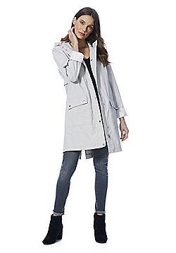 F&F Rubberised Shower Resistant Hooded Raincoat - Light grey