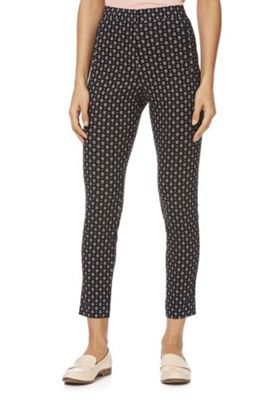F&F Abstract Print Bengaline Skinny Trousers Black/Multi 12