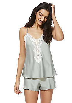 F&F Lace Trim Cami and Shorts Pyjama Set - Green