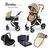 Riviera Plus 3 in 1 White Travel System - Taupe / Pistachio
