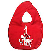 Dirty Fingers Happy 1st Birthday to me! Baby Bib Red