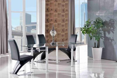 Verona Glass 120 - 180 cm Dining Table with 6 Black Zed Chairs