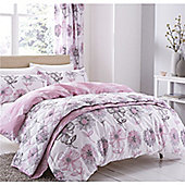 Catherine Lansfield Banbury Floral Eyelet Curtains - Pink