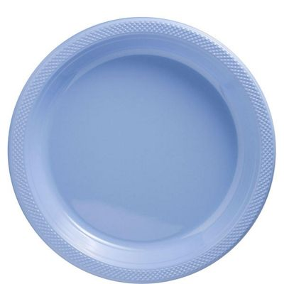 Baby Blue Plates - 26cm Plastic Party Plates - 50 Pack