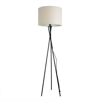 Camden Tripod Floor Lamp, Gloss Black & Cream Rolla Shade