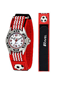 Boys Red Football Velcro Strap Watch
