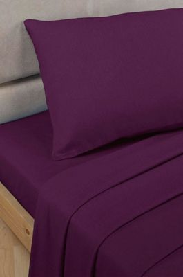 Polycotton Percale - Flat Sheet - Aubergine - King Size