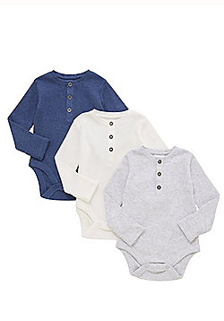 F&F 3 Pack of Ribbed Henley Long Sleeve Bodysuits - Blue/Cream/Grey