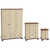 Richmond Bedroom Set (Triple Wardrobe with 4 Drawers, Chest of Drawers & Bedside Table), Cream