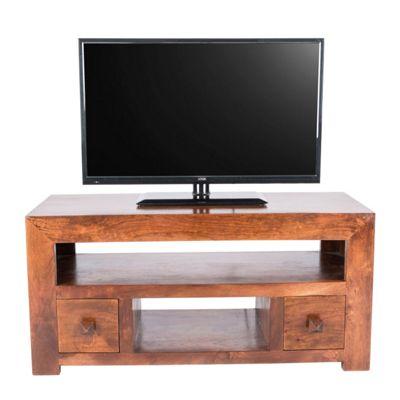 Homescapes Dakota TV Unit with 2 Drawers Dark Shade