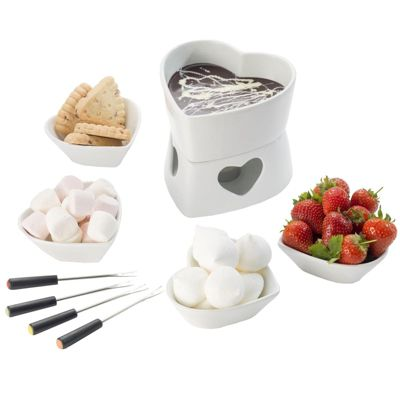 Occasion Ceramic Heart Shaped Cheese / Chocolate Fondue Set